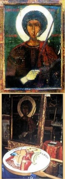"""икона святого  великомученика Георгия Победоносца <span lang=""""RU"""">икона святого великомученика Георгия Победоносца, </span><span lang=""""RU"""">чудесно приплывшая по морю из Аравии.</span>"""