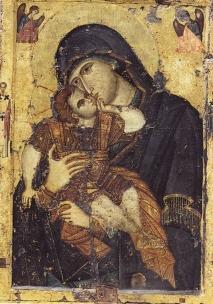 Чудотворная икона Божьей Матери «Гликофилуса» ( <p>Чудотворная двусторонняя икона Божьей Матери «Гликофилуса» (&quot;Сладкое лобзание (целование)&quot;, греч. «Γλυκοφιλούσα»). На одной стороне изображена Богородица, нежно целующая младенца Иисуса, на другой – Распятие.</p>