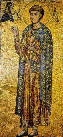 Икона святого Великомученика Димитрия Солунского, Мироточивого.  <p>Мозайчная икона второй половины 12ого века.</p>