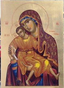 Икона Богородицы Милующая <p>Икона находится в монастырском соборе в левом киоте. Богородица изображена сидящей на троне, на ее левом колене изображен сидящий Богомладенец, благословляющий правой рукой, в левой руке Он держит свиток. Вокруг трона Богородицу окружают Херувимы с Серафимами. На иконе есть подпись «написана сия икона Иоанном Максимом в 1673 году». Размеры иконы 1,2 на 0,83 метра, серебряный оклад ее был изготовлен в России в 1853 году.</p>