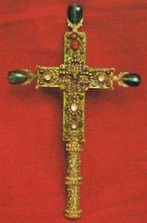 Крест Пульхерии <span lang=&quot;RU&quot;>Золотой крест украшенный жемчугом и тремя изумрудами.</span>