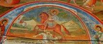 Святой великомученик Димитрий Солунский, мироточивый. Фреска в главном соборном храме, посвящен Святому Димитрию.