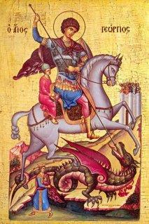 Икона  Георгия Победоносца Икона Георгия Победоносца XIII века, размер 72см на 48см. Святой Георгий изображен в венце мученика.